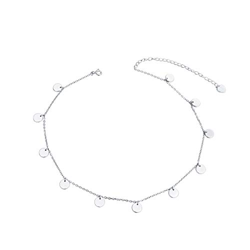 Sterling Silver Dots - Sterling Silver Jewelry Dot Choker Necklace Round Circle Pendant Disc Chain Statement Necklace For Women Girls