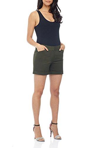 - Rekucci Women's Stretch Cotton Spandex Cuffed Perfect Chino Short (14,Olive)