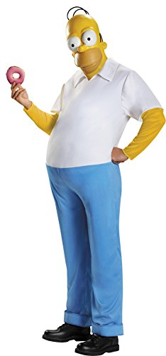 UHC Men's Homer Simpson Jumpsuit Deluxe Outfit Funny Theme Fancy Costume, OS (42-46)
