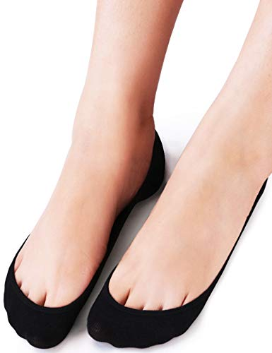 (VERO MONTE 4 Pairs Womens TRULY No Show Socks (Black, 7.5-9) -Liner)