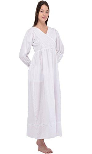 Camicia da notte in cotone bianco Vintage Cotton Lane Reproduction Plus Size N246-WT. Taglie italiane dalla 40 alla 70