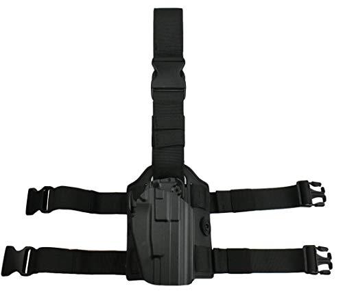 JFFCESTORE Airsoft Drop Leg Platform and Right Handed Holster Tactical Thigh Mount Platform Drop Leg Holster Panel with Adjustable Belt & Thigh Straps (Black 2# Combination)
