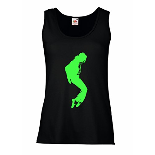 Sleeveless t Shirts for Women I Love MJ - Fan Club Clothes, Concert Clothing (Medium Black Green)