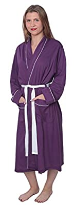 Women's Soft Jersey Knit Cotton Blend Wrap Robe Sleepwear with Piping
