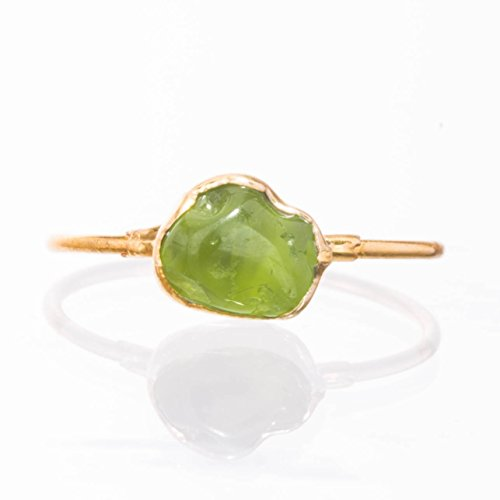 Raw Peridot Ring, Size 8, Yellow Gold, August Birthstone
