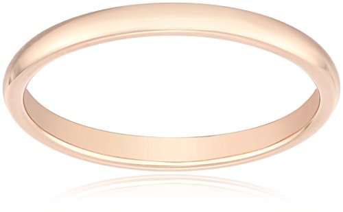 Classic Fit 14K Rose Gold Band, 2mm, Size 10 by Amazon Collection