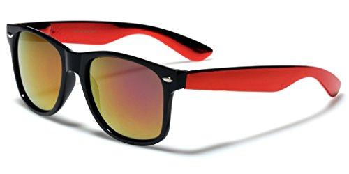 Colorful Retro Fashion Wayfarer Sunglasses with Shiny Chrome Arms and (Chrome Black Retro Glass)