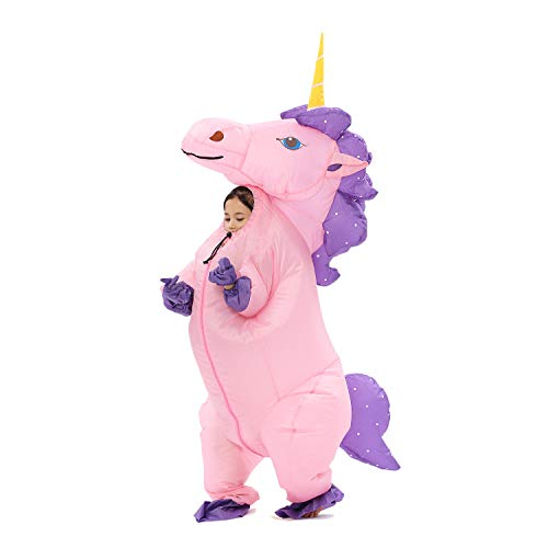 Inflatable Unicorn Costume for Kids Pony Horn Horse Suit for Halloween (Kid Pink)