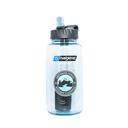 Epic Nalgene OG | Water Filtration Bottle | Wide Mouth 32 oz | American Made Bottle | USA Made Filter Removes 99.99% of Tap Water Contaminants Lead Chlorine Chromium 6 Arsenic Chloroform (Seafoam)