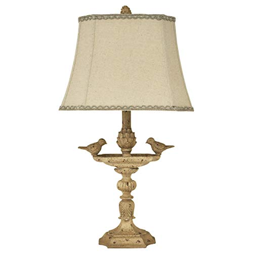 """26"""" Natural Linen Bird Decoration Accent Table Lamp for Bedroom Living Room (Rectangle Linen Shade)"""