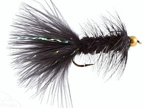 Bead Head Wooly Bugger Black with Flash Fly Fishing Flies for Trout and Other Freshwater Fish - One Dozen Wet Flies - 4 Size Assortment 6, 8, 10, 12 (3 of Each Size) / Hand Tied
