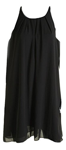 Dress Pleated Vince (Vince Camuto Women's Pleated Neck Shift Dress Black Size Small)