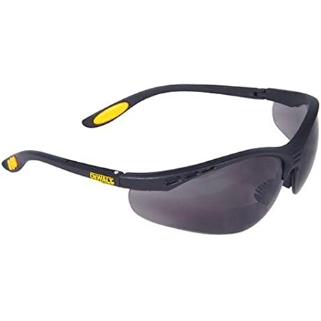 Dewalt DPG59 215C Reinforcer Rx Bifocal 1 5 Smoke Lens High Performance Protective Safety Glasses With Rubber Temples And Protective Eyeglass Sleeve