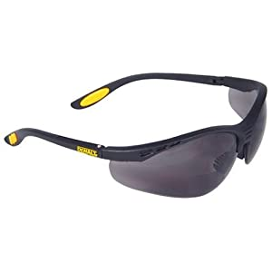 Dewalt DPG59-225C Reinforcer Rx-Bifocal 2.5 Smoke Lens High Performance Protective Safety Glasses with Rubber Temples and Protective Eyeglass Sleeve