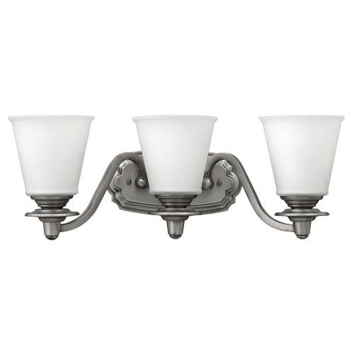 Hinkley 54263PL Traditional Three Light Bath from Plymouth collection in Pwt, Nckl, B/S, Slvr.finish,