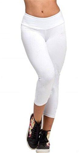 Women Sports Yoga Stretch Short Leggings Under Knee Tights Skinny Spandex Pants