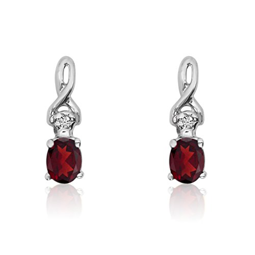 (0.20 Carat (ctw) 14k White Gold Oval Red Garnet and Diamond Infinity Swirl Stud Earrings with Post with Friction Back (4 x 3 MM))