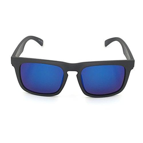 4ec186b048 Amazon.com  J+S Raglan Surfer s Choice Flash Mirror Lens Standard Fit  Square Matte Finish Polarized 400UV Sunglasses for Men (Blue Mirror Lens)   Sports   ...