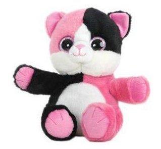 GATO OJOS BRILLANTES - Peluche Gato negro y rosa con patas rosas (25cm) -