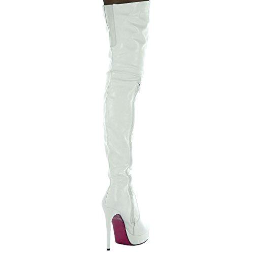 Angkorly glänzende cm 13 Blockabsatz Flexible Damen Boot Schuhe Oberschenkel high Heel FqFwrp