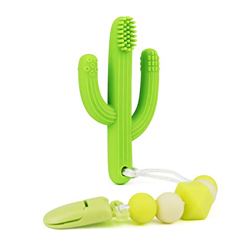 Cactus Teething Toothbrushc with Silicone Pacifier Clips