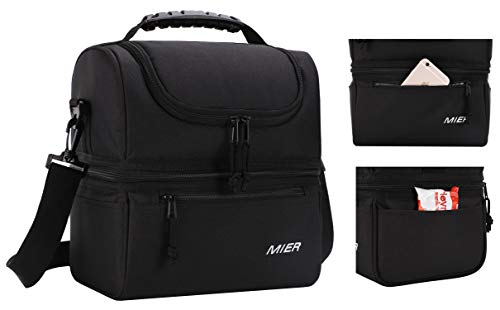 MIER Adult Lunch Box Insulated Lunch Bag Large Cooler Tote Bag for Men, Women, Double Deck Cooler(Black) by MIER (Image #5)
