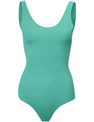 - Michel Womens Sexy Scoop Neck Bodysuit Romper Jumpsuits Mint Large