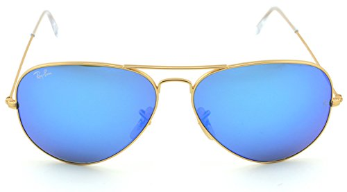 Ray-Ban RB3025 Aviator Large Metal Unisex Aviator Mirror Sunglasses (Matte Gold Frame/Crystal Green Mirror Blue Lens 112/17, 62)