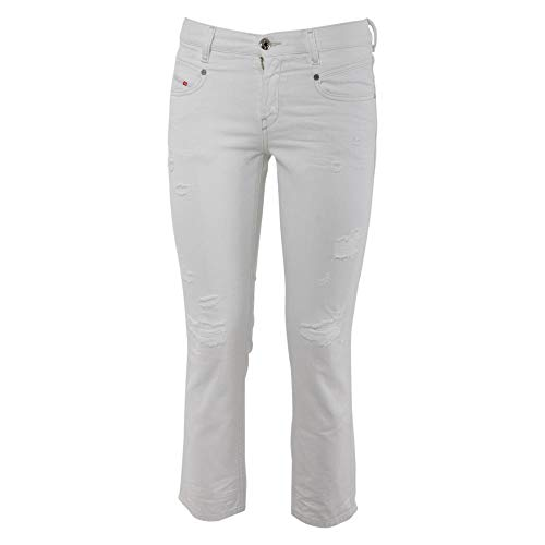 Straight Jeans Diesel White Belthy Donna Pantaloni Ankle wqwt0pZI