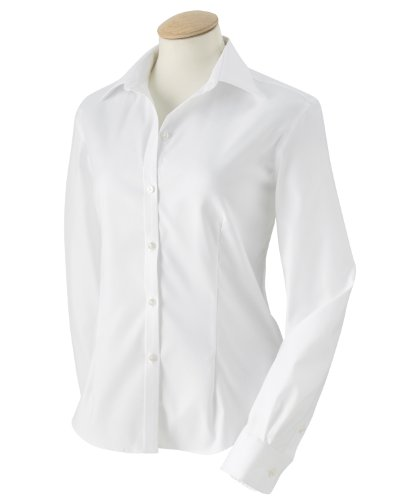 Button Down No Iron Pinpoint - V0144 Van Heusen Ladies' Long-Sleeve Non-Iron Pinpoint (White) (XL)