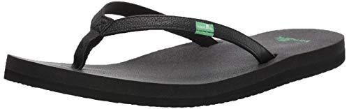 Sanuk Women's Yoga Joy Flip Flop,Black,9 M US (Best Shoes For Pregnant Women)