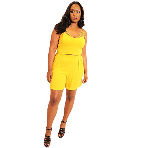 (Rebdolls Double Caged Crop Top - Sweet Heart Neck Line (Yellow, 2X))