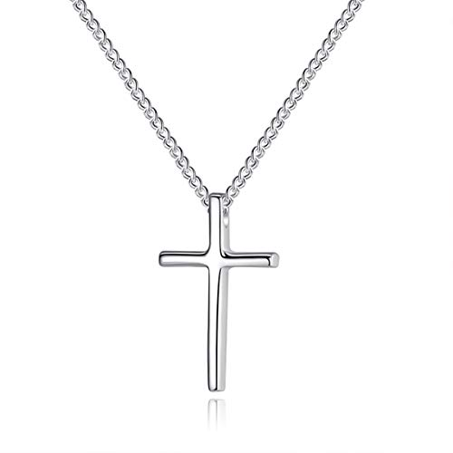 Jacob Alva Cross Necklace for Girls Sterling Silver Pendant Necklace Religious Gifts for Women Necklace Fine Jewelry Her Mothers Teenage Girls Goddaughter Gifts from Godmother
