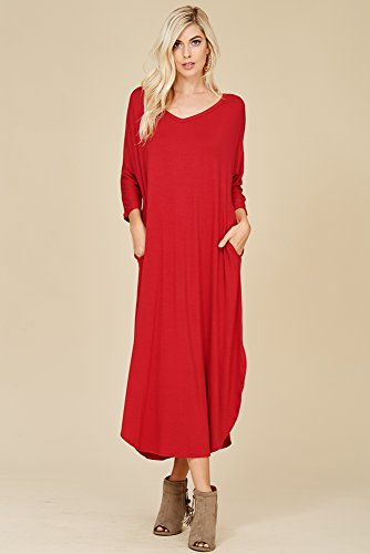 Annabelle Pockets Red 3 Sleeve Oversize Slit Side Maxi Dark Neck 4 Dress Women's V with 7qWrHw76