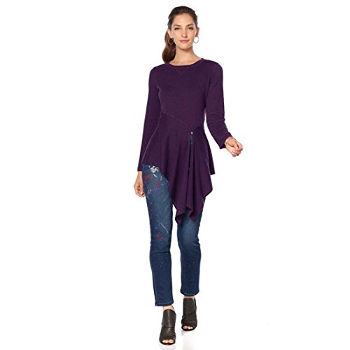 Diane Gilman DG2 Blend Asymmetric Split-Hem Sweater 569-213