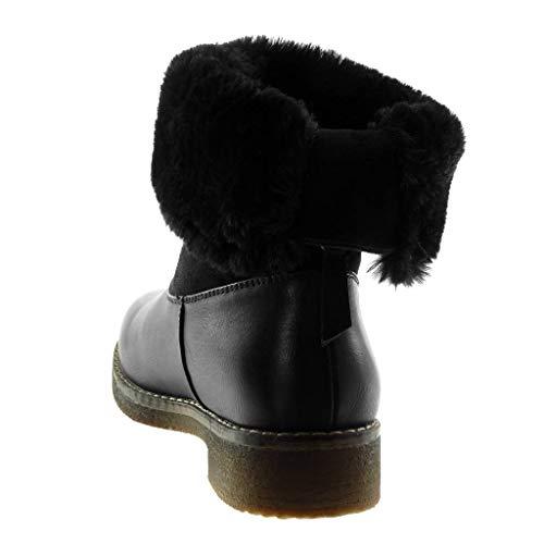 Schwarz Material Stiefeletten Pelz Angkorly cm 5 Schuhe Blockabsatz bi 3 Damen Schneestiefel XEP6q