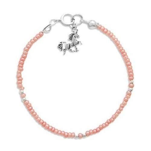5 Pink Seed Bracelet with Unicorn Charm Girls Sister Friendship