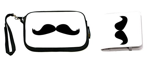 Rikki Knight Hercule Poirot Mustache Design Neoprene Clutch Wristlet with Matching Passport Holder -