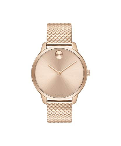 Movado Bold, Pale Rose Gold Ion-Plated Stainless Steel Case, Pale Rose Gold Dial, Pale Rose Gold Ion-Plated Stainless Steel Pyramid Mesh Bracelet, Women, 3600596 (Movado Bracelet Gold)