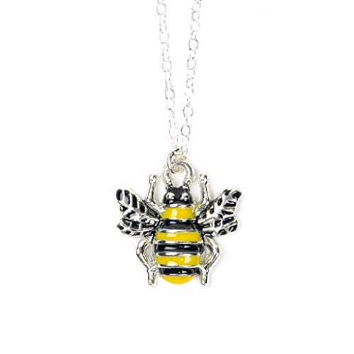 (Yellow and Black Enameled Sterling Silver Bumblebee Necklace)