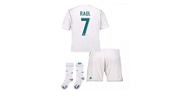 3158657dc45 Amazon.com   UKSoccershop 2017-17 Real Madrid Home Full Kit (Raul 7)    Sports   Outdoors