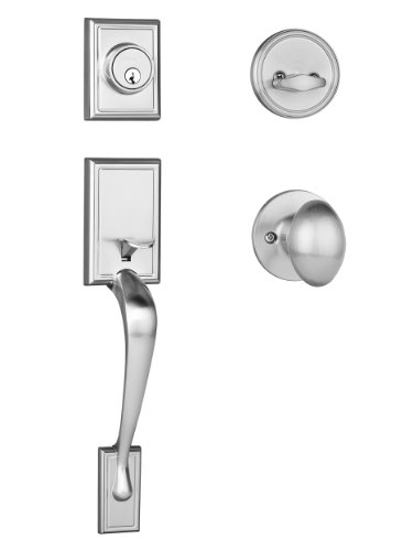 Dynasty Hardware RID-ASP-100-US15 Ridgecrest Front Door Handleset, Satin Nickel with Aspen Knob ()