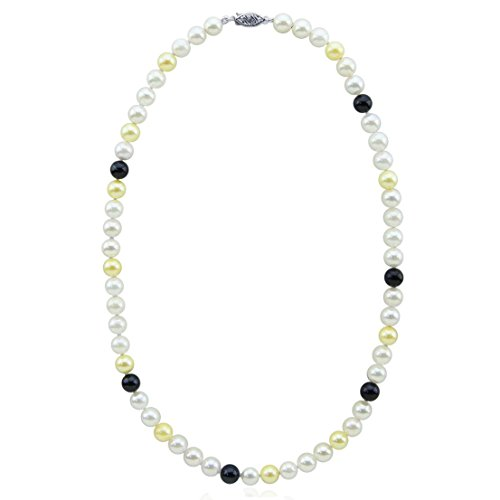 14K White Gold High Luster Multi Color AAA Quality Akoya Cultured Pearl Necklace 22 Inches-Style 1 by Akwaya