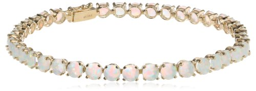 14k Yellow Gold Round Genuine Opal Tennis Bracelet, 7'' by Amazon Collection