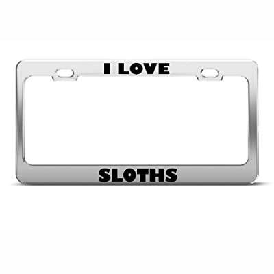 Speedy Pros Metal License Plate Frame I Love Sloths Animal Car Accessories Chrome 2 Holes - Sloth License Plate Frames