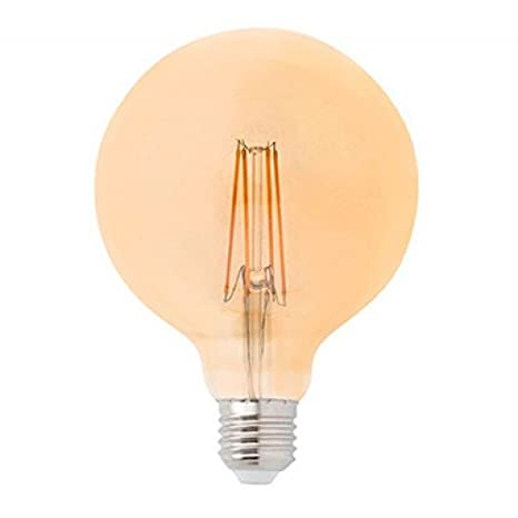 Bombilla LED Filamento E27 G80 6W Ámbar, 2300 Color Ambar Iluminacion de Techo Interior 500