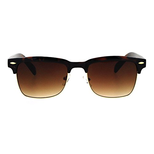 Mens Half Rim Rectangular Luxury Hipster Shade Sunglasses Tortoise - Hipster Shades