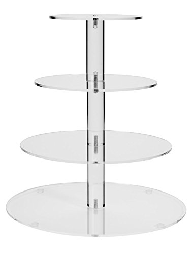 Jusalpha 4 Tier Round Wedding Acrylic Round Wedding Cake Stand/ Cupcake Stand (Serving Display)