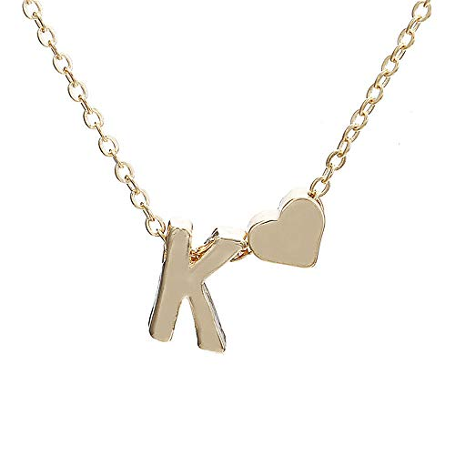 Letter Heart Pendant Necklace A-Z Initial Necklace Message Card Charm Chain Woman Jewelry (Gold, K)