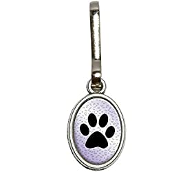 Graphics and More Paw Print of Awesomeness Purple Antiqued Oval Charm Clothes Purse Luggage Backpack Zipper Pull